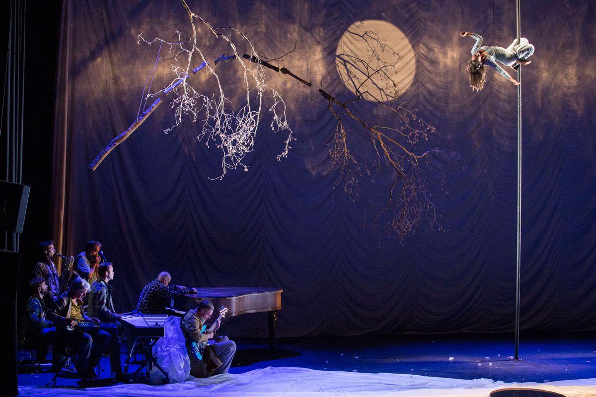 Cirque Plume orchestre et acrobate